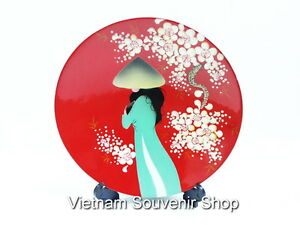 Details About Vietnam Art Lacquer Dish For Home Decor Wall Hanging Vietnam Girl With Ao Dai