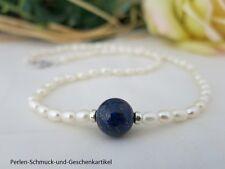 Collier 50cm aus echten Perlen und LapisLazuli, 925er Silber! TOP Design Unikat