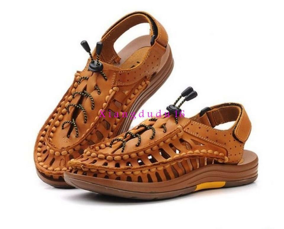 Para Hombres con Cordones Transpirable romano gladiadores calado Sandalias Tira al Tobillo Zapatos