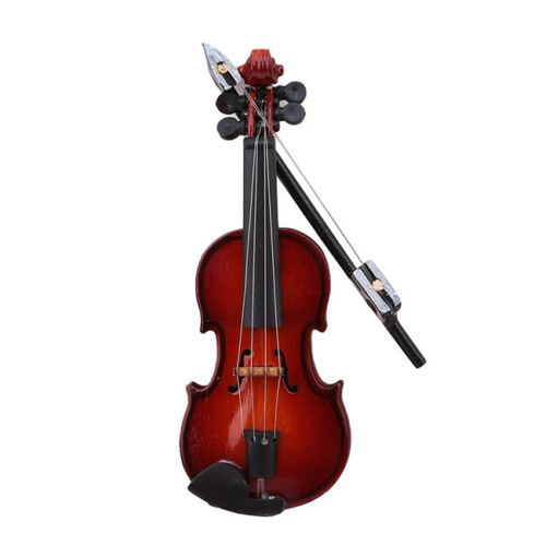 Dollhouse Miniature Musical Instrument Wooden Violin Decor With Case QK
