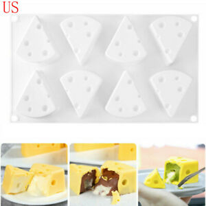 8-Cavity-Cheese-Shape-Silicone-Mold-Pudding-Jelly-Mould-Baking-Tool-Bakeware-USA