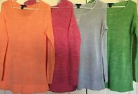 Gap Women's Sweater S M L Xl Xxl Drop Shoulder Longer Length Blue Pink Orang