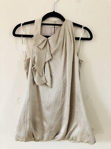 Karen-Millen-Gold-Crinkles-100-Silk-Bow-Halterneck-Top-Blouse-Size-6-A0909