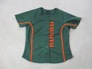 Nike Miami Hurricanes Baseball Jersey Womens Large Green Orange Um Ladies Ebay
