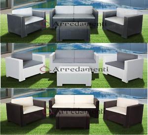 Salotto da giardino poli rattan esterno divano arredo for Poltrone per esterno offerte