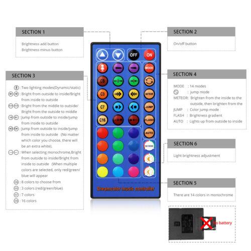 US Plug 16.4FT Smart 5050 RGB LED Strip Light Dream Color Bluetooth APP Control
