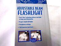 Adjustable Beam Flashlight In Box Christmas Present Prewrapped 9 Led Light