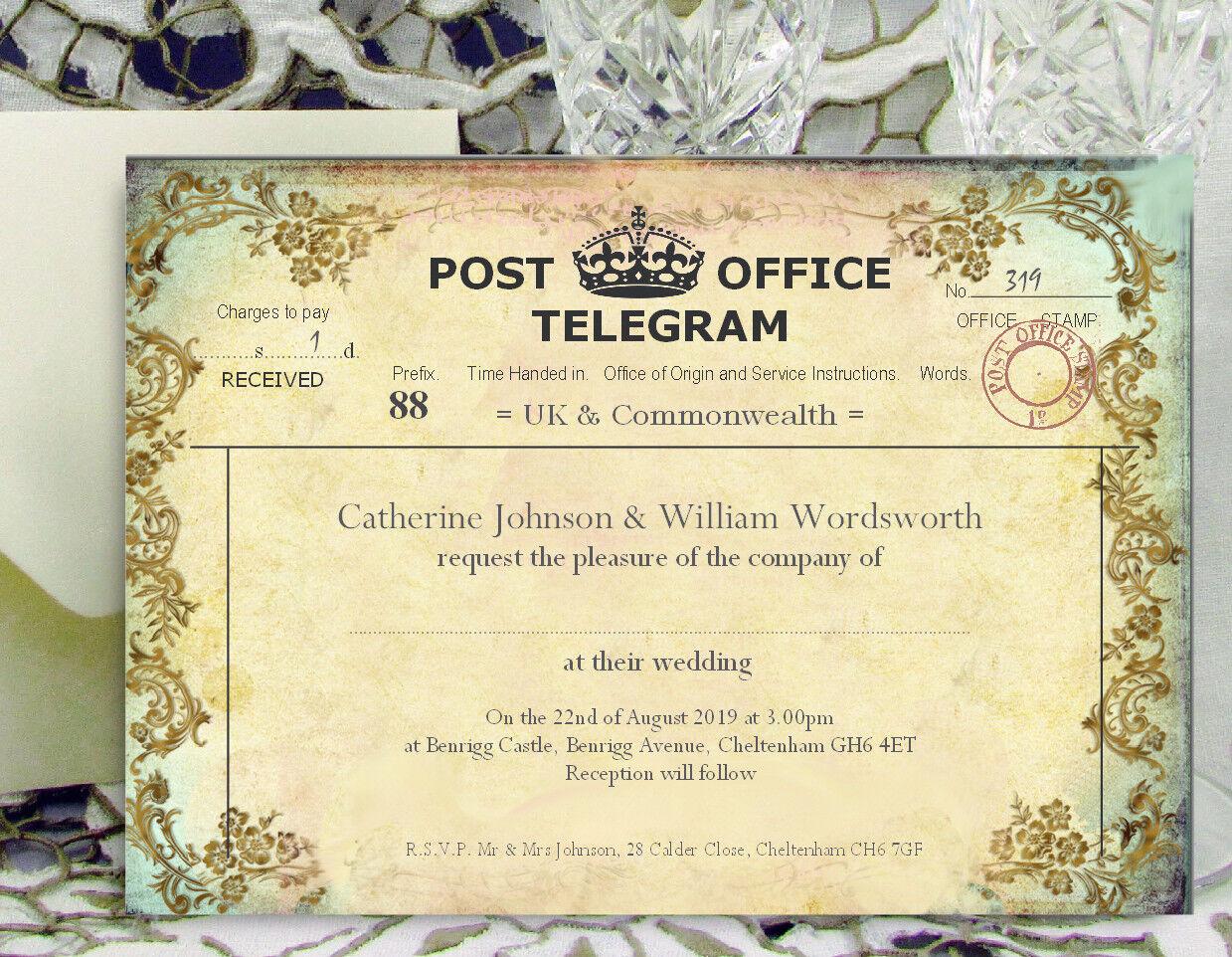 LARGE PERSONALISED WEDDING INVITATIONS 18x13cm Vintage Telegram F with Envelopes