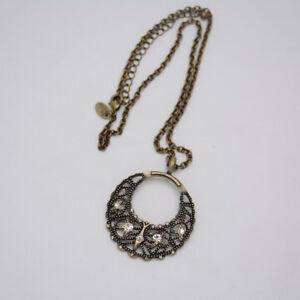Lia-sophia-jewelry-vintage-brass-tone-cut-crystal-circle-hollow-pendant-necklace