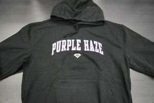 Diamond Supply Co x CamRon Mens Purple Haze Chenille Patch Long Sleeve Pullover Hoodie