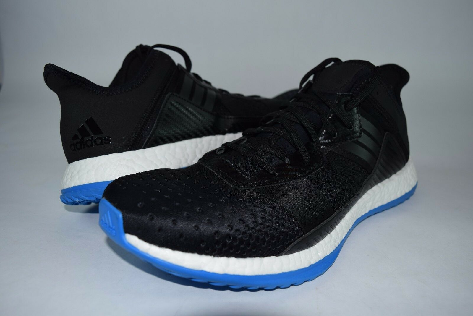 New Mens Adidas PureBOOST ZG AQ5037 sz 12.5 Black bluee Trainers Sneakers shoes