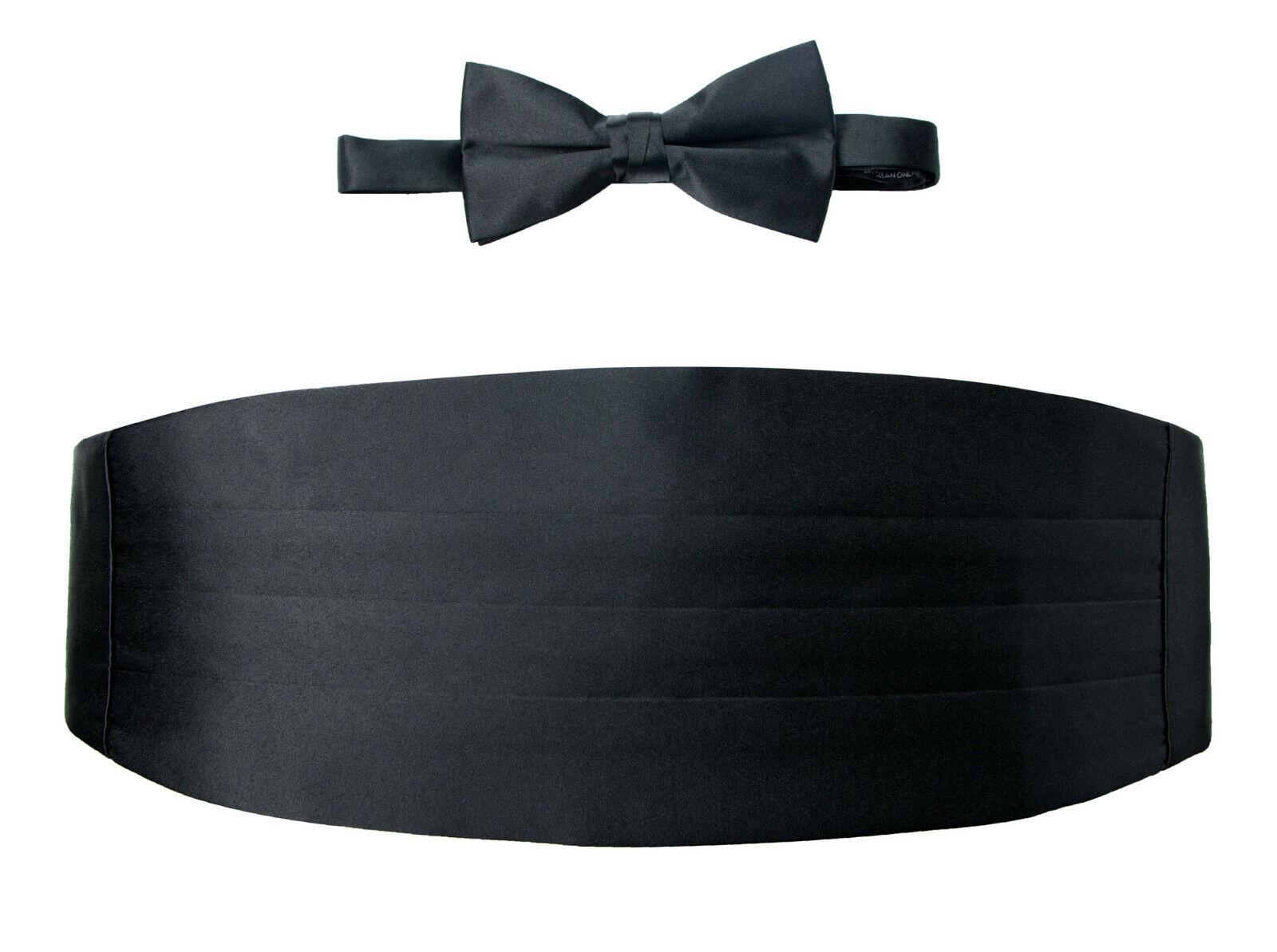 New Black Poly Satin Cummerbund & Bow Tie Wedding Cruise Masons Elks markystore