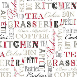 Details About Fk34413 Fresh Kitchens Kitchen Phrases Black Red Silver Galerie Wallpaper