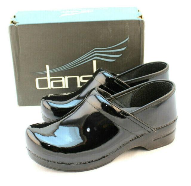 New DANSKO Size 11.5-12 Professional Black Patent Clog Comfort Shoes RETAIL $125