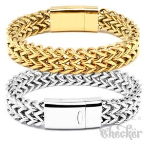 Herren-Armband-Edelstahl-Fuchsschwanz-silber-gold-18k-vergoldet-Magnetverschluss