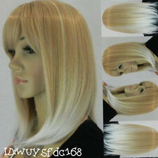 New Fashion Short White Blonde Mixed Color Women's Hair Wig+Free wig cap NO:116