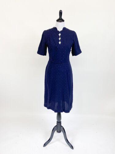 Rare! VTG 1940s 50s Hattie Carnegie Studded Wool D