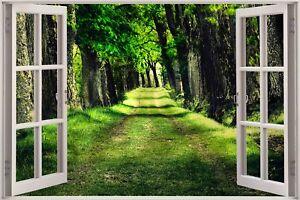 Huge-3D-Window-view-Beautiful-Green-Forest-Wall-Sticker-Art-Decal-414
