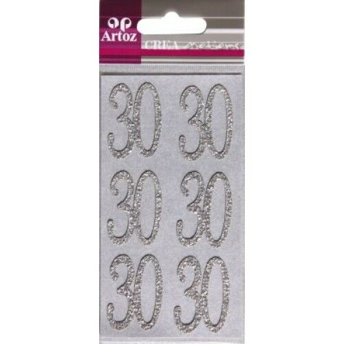 Card Making ~ Embellishment ~ Metallic Number Sticker ~ /'30/' 6 per sheet