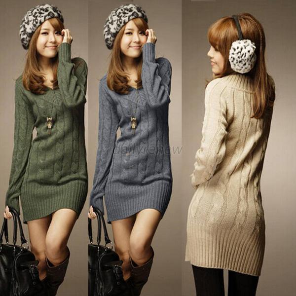 Women Girls Autumn Winter Long Sleeve Knit BodyCon Slim Party Sweater Mini Dress