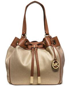 dafd98ea5825d7 Michael Kors 30H5GMAT7C Marina Gold Large Drawstring Purse Tote Handbag