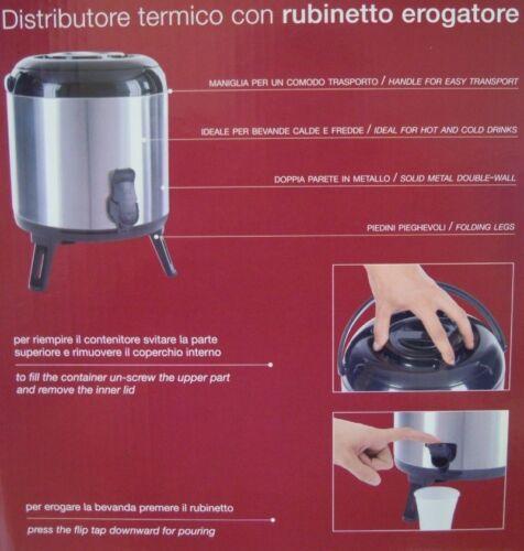 THERMOS BARILOTTO DISPENSER  6 LITRI IN ACCIAIO INOX CON EROGATORE E MANIGLIA