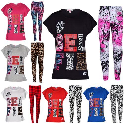 Girls Tops Kids Selfie Print Trendy T Shirt Top /& Fashion Legging Set 7-13 Years