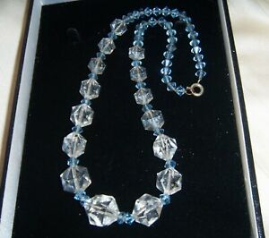 ART-DECO-VINTAGE-CLEAR-CUBOID-BLUE-CRYSTAL-BEADS-BRIDAL-NECKLACE-on-Chain