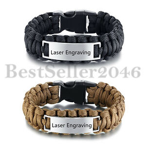 Personalized-Custom-Mens-Braided-Rope-Stainless-Steel-ID-Tag-Wristband-Bracelet