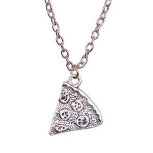 Sterling Silver Pizza Slice Friendship Pendant Necklace