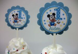 12 Personalized Baby Mickey Mouse Cupcake Toppers 1st ...