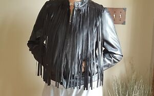 2c41b5615b8bf REBA Desert Rose Black 100% Sheep Leather Fringe ZIP Jacket Sz LG ...