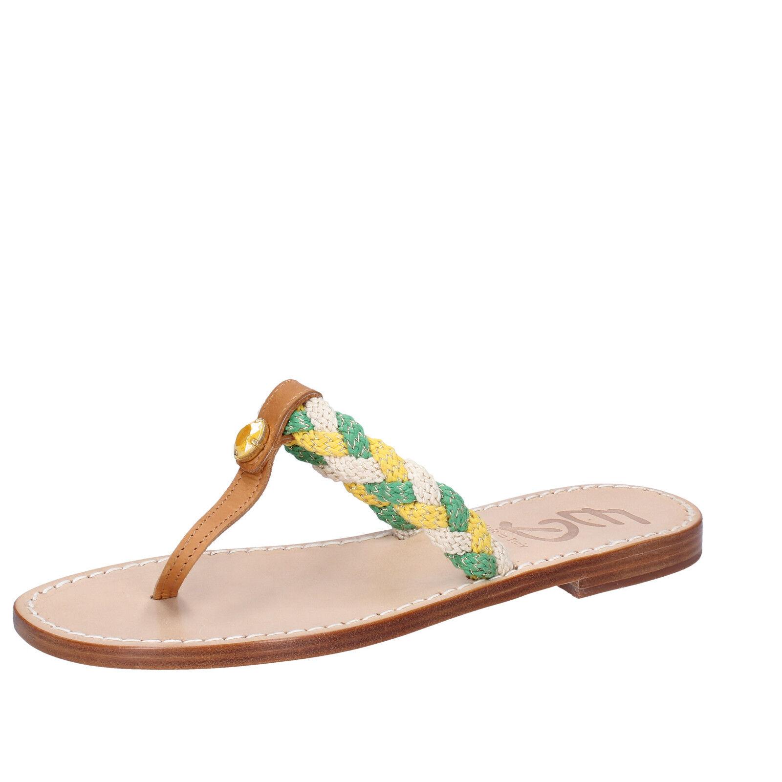 Damens's schuhe EDDY DANIELE 7 (EU 37) Sandale multicolor rope Leder AX790