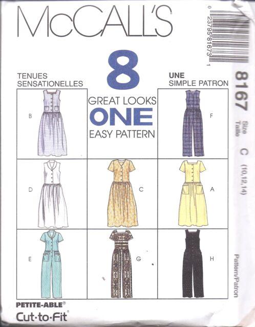 8167 UNCUT McCalls SEWING Pattern Misses Dress Jumpsuit Easy SEWING OOP 8 Looks