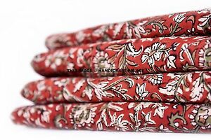 Indian-Hand-Block-Print-Cotton-Cambric-Bohemian-Crafting-By-5-Metre-Fabric-Boho