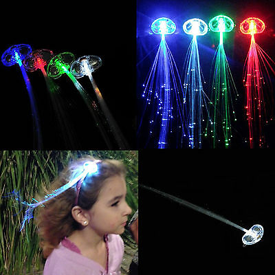 2x LED Hair Flashing Multicolour Clip on Braid Decoration Light Up Glow Party