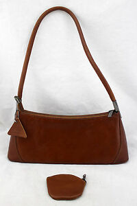 ANDREA Poland Cognac Brown Genuine Leather Shoulder Bag And Coin Wallet Purse