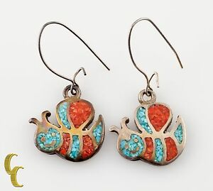 925 sterling Silver Turquoise/Coral Bee Shaped Earrings