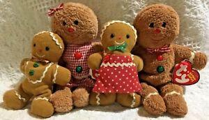 Ty Beanie Babies Hansel Gretel Gingerbread Family Kid Boy Girl Holiday Christmas