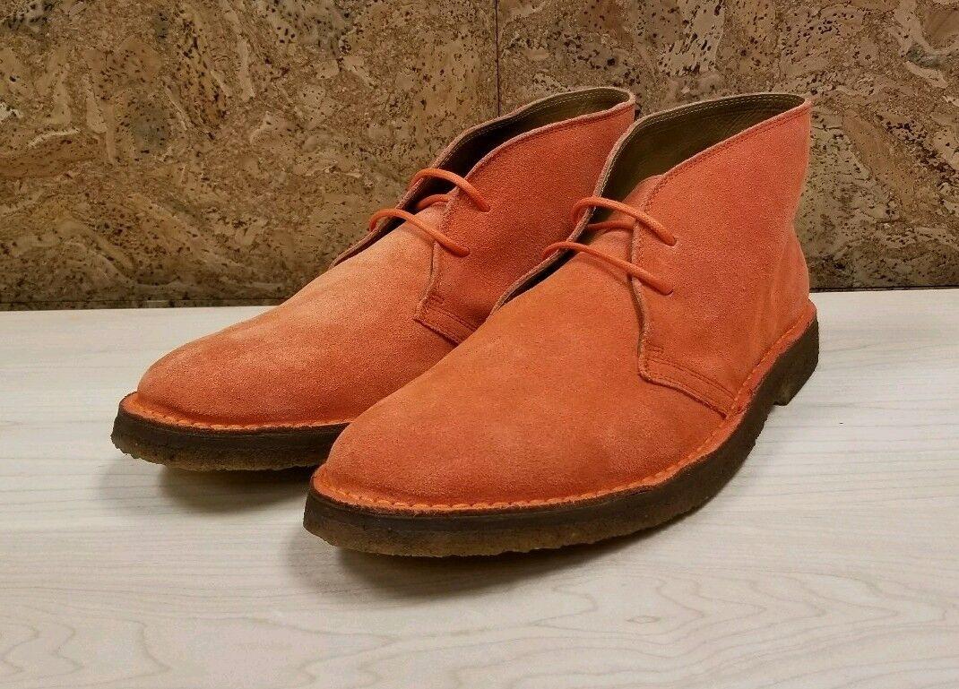 Ralph Lauren Polo Orange Suede Chukka Boot Made in Spain Size 8.5