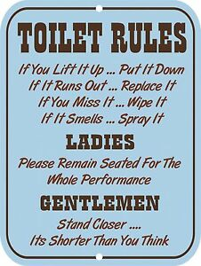Image is loading Retro-Vintage-Nostalgic-Funny-Toilet-Restroom-Bathroom- Rules-