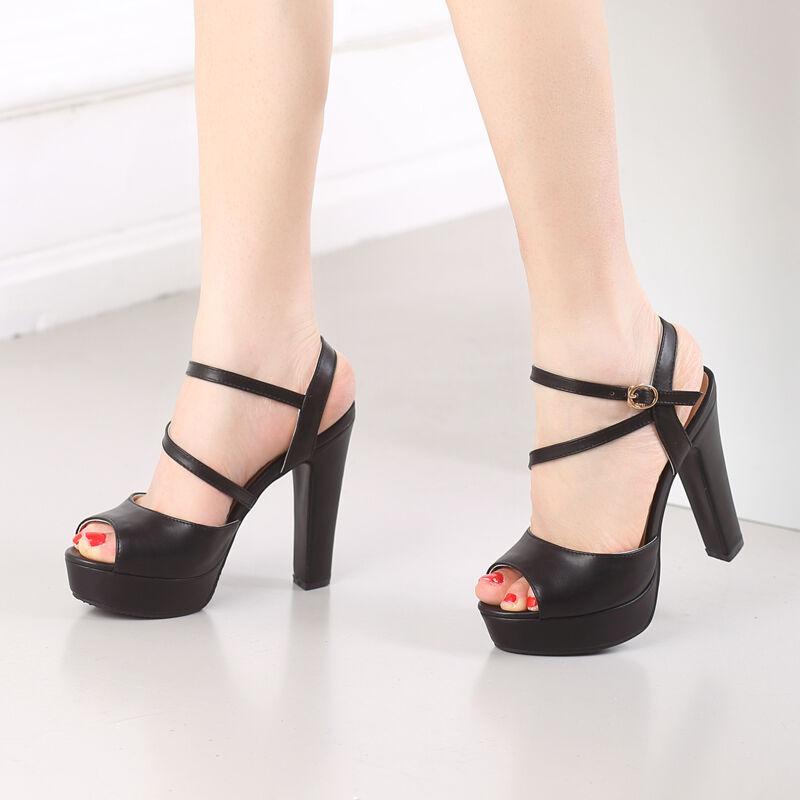 Fashion Womens Ladies Buckle Sandals Peep Toe High Heels Peep Toe Ladies shoes