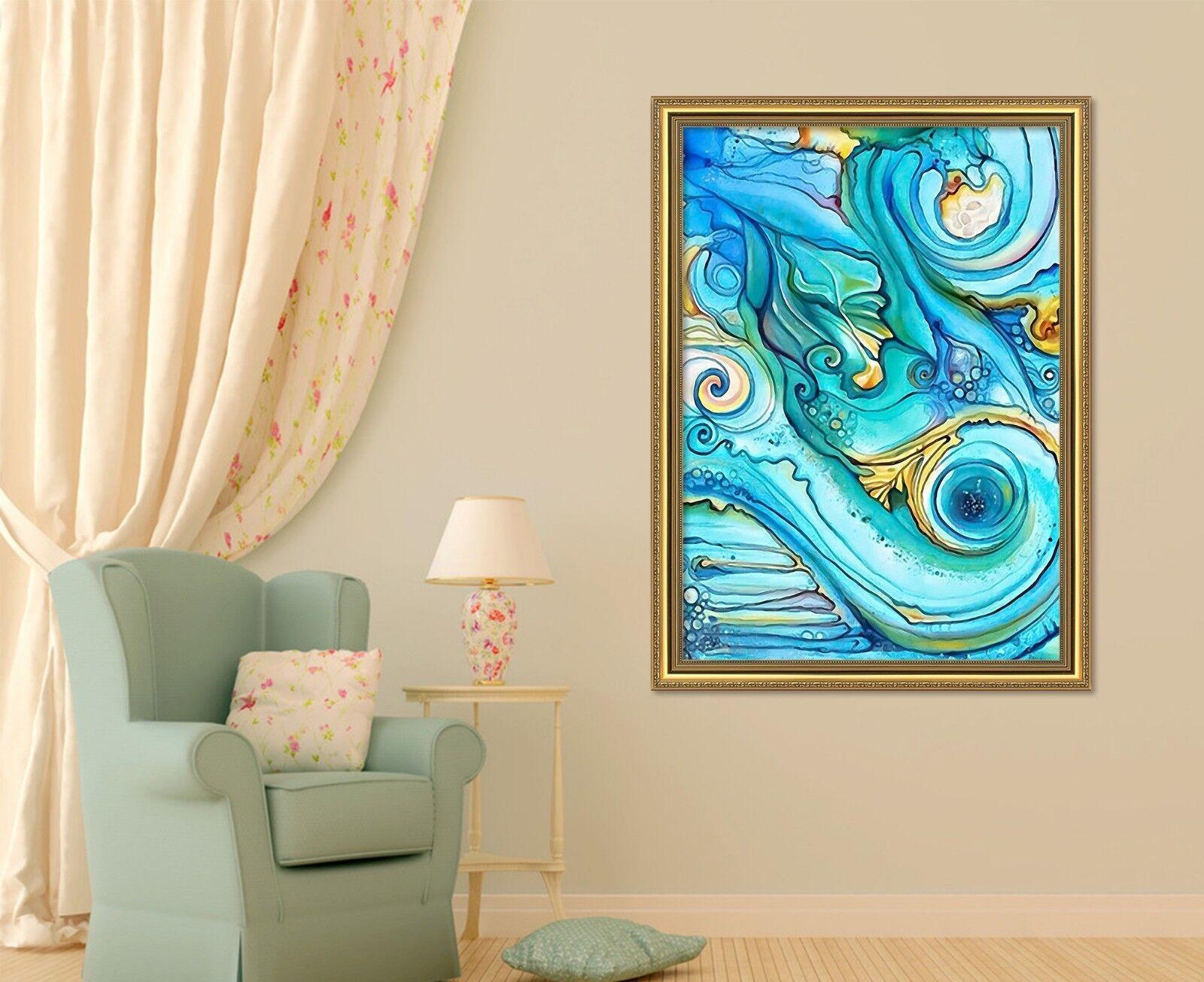 3D Bleu Peinture 69 Framed Poster Home Decor imprimer peinture art AJ UK