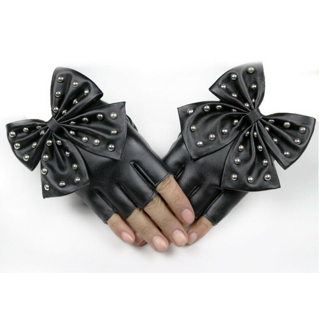 1 Pair Fashion Fingerless Gloves Female Rivet Mitten Black for Cycling