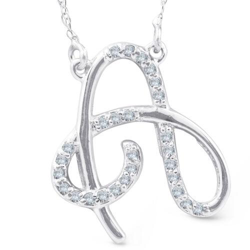 "Diamond /""A/"" Initial Pendant 18/"" Necklace 14K White Gold"