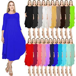 J Doe Style Women S Solid 3 4 Sleeve Rounded Hem Mid Length Dress