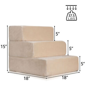 Pet-Stairs-3-Steps-Soft-Portable-Cat-Dog-Step-Ramp-Small-Climb-Ladder-w-Cover