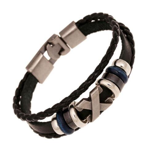 Armband Schwarz Silber Braun Metall Leder Schnur Surfer Damen Herren Vintage WOW