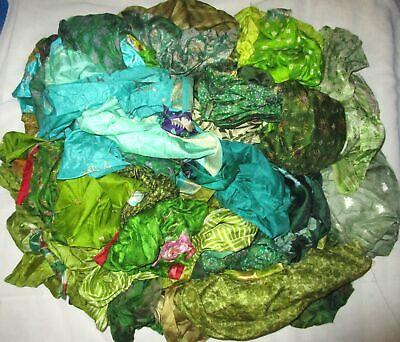 UK LOT PURE SILK Vintage Sari REMNANT Fabrics 100 GRAMS Plain Solid #ABM54