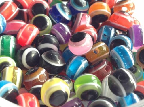 Choose your colour 8mm 100 striped resin plastic beads jewellery making